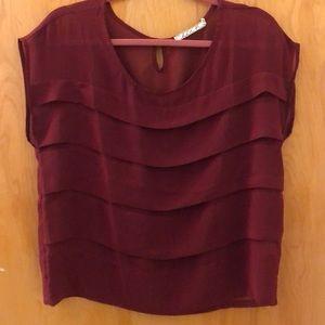 Nordstrom brand Maroon layered semi sheer shirt
